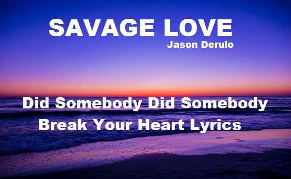 Did Somebody Did Somebody Break Your Heart Lyrics