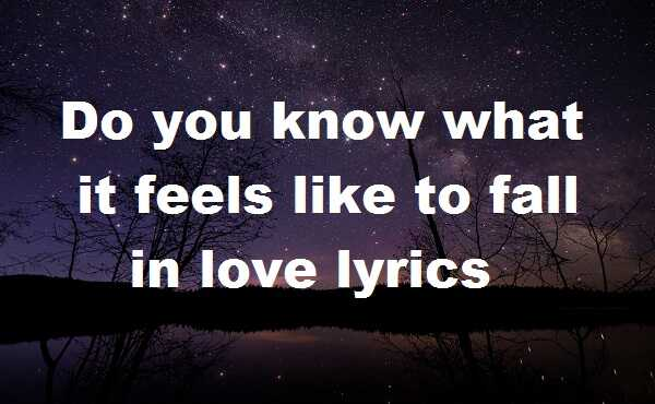 Do you know what it feels like to fall in love lyrics
