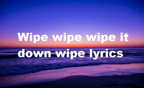 Wipe wipe wipe it down wipe lyrics