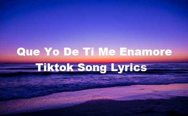 Que Yo De Ti Me Enamore Tiktok Song Lyrics