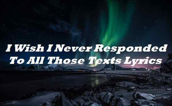 I Wish I Never Responded To All Those Texts Lyrics