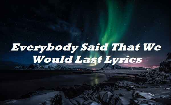 Everybody Said That We Would Last Lyrics