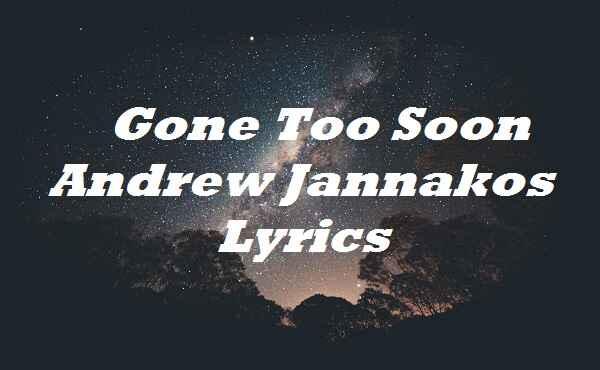 Gone Too Soon Andrew Jannakos Lyrics