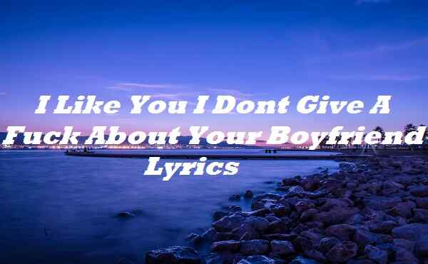 I Like You I Dont Give A Fuck About Your Boyfriend Lyrics