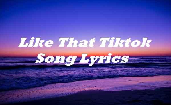 Like That Tiktok Song Lyrics