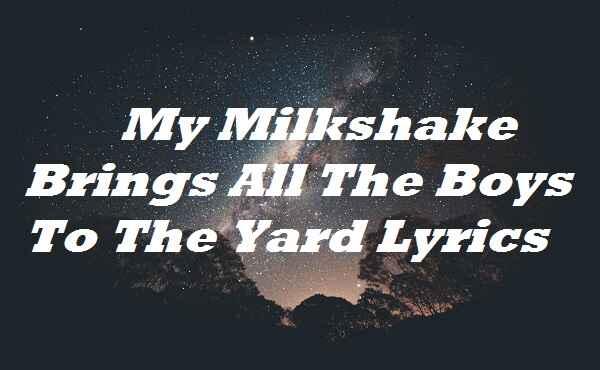 My Milkshake Brings All The Boys To The Yard Lyrics