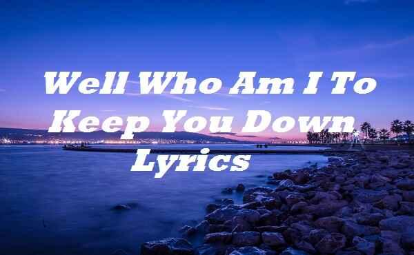 Well Who Am I To Keep You Down Lyrics