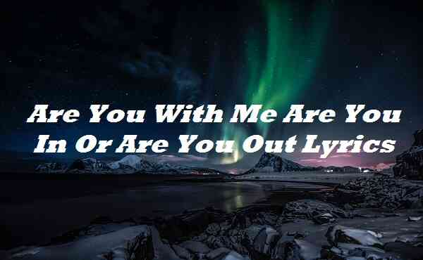 Are You With Me Are You In Or Are You Out Lyrics