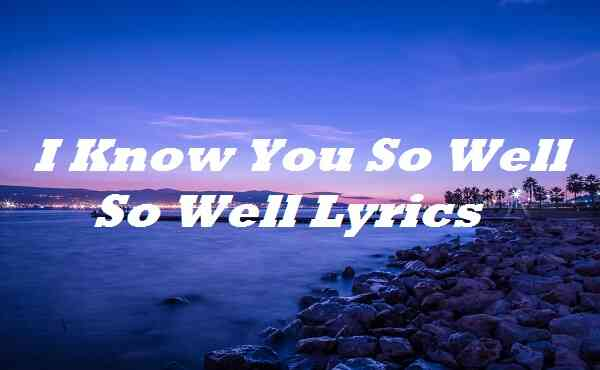 I Know You So Well So Well Lyrics