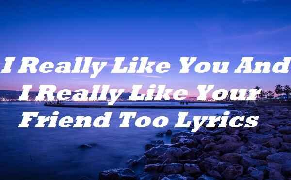 I Really Like You And I Really Like Your Friend Too Lyrics
