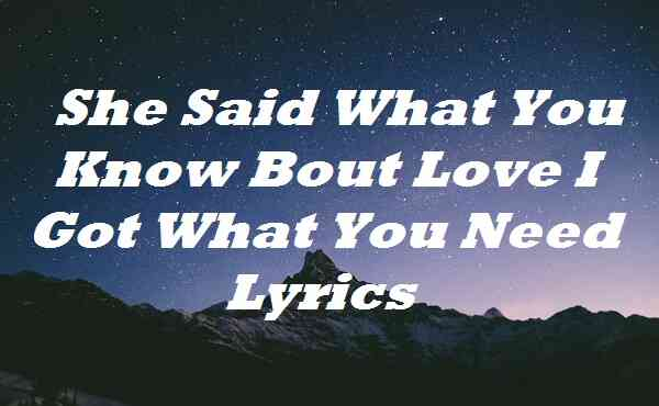 She Said What You Know Bout Love I Got What You Need Lyrics