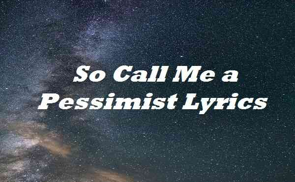 So Call Me a Pessimist Lyrics