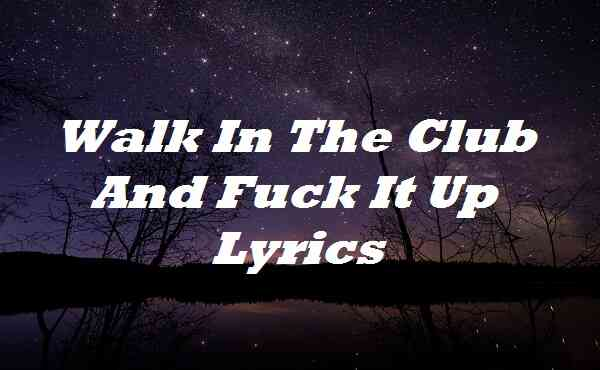 Walk In The Club And Fuck It Up Lyrics