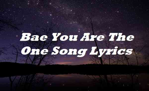 Bae You Are The One Song Lyrics