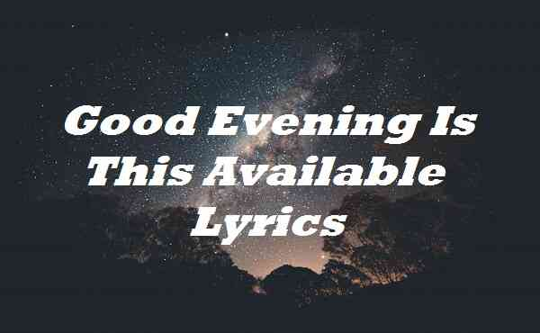 Good Evening Is This Available Lyrics