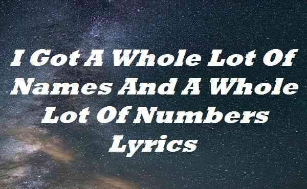 I Got A Whole Lot Of Names And A Whole Lot Of Numbers Lyrics