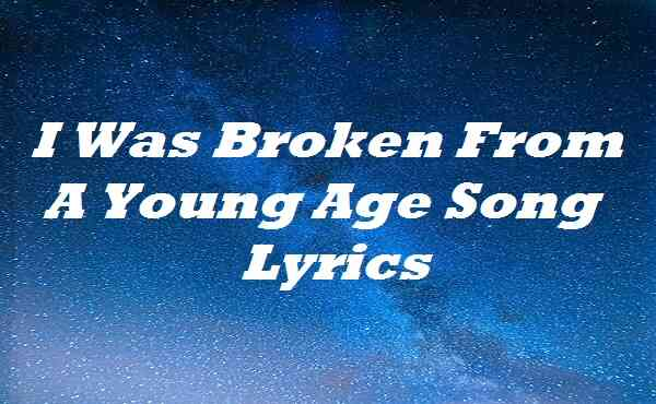 I Was Broken From A Young Age Song Lyrics
