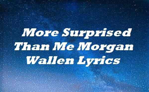 More Surprised Than Me Morgan Wallen Lyrics
