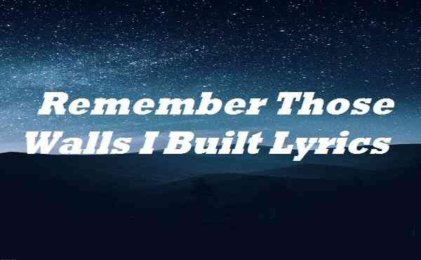 Remember Those Walls I Built Lyrics
