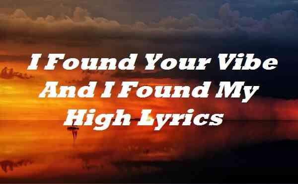 I Found Your Vibe and I Found My High Lyrics