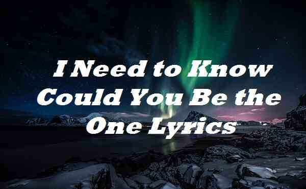 I Need to Know Could You Be the One Lyrics