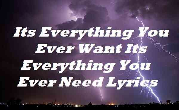 Its Everything You Ever Want Its Everything You Ever Need Lyrics