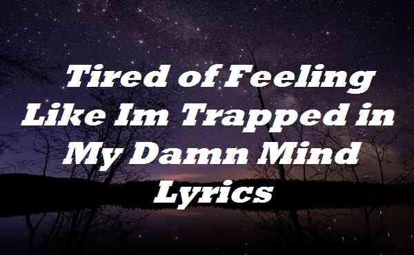 Tired of Feeling Like Im Trapped in My Damn Mind Lyrics