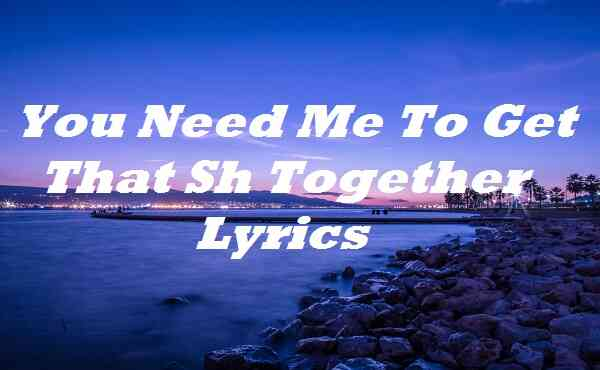 You Need Me To Get That Sh Together Lyrics