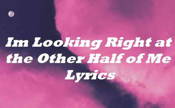 Im Looking Right at the Other Half of Me Lyrics