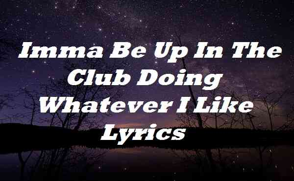 Imma Be Up In The Club Doing Whatever I Like Lyrics