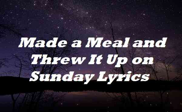 Made a Meal and Threw It Up on Sunday Lyrics