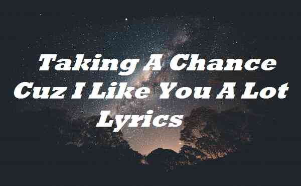 Taking A Chance Cuz I Like You A Lot Lyrics