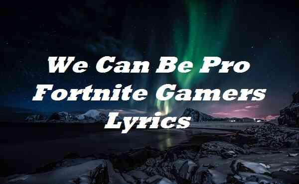 We Can Be Pro Fortnite Gamers Lyrics