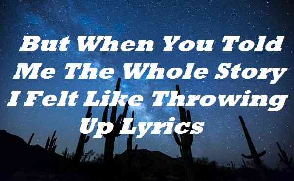 But When You Told Me The Whole Story I Felt Like Throwing Up Lyrics