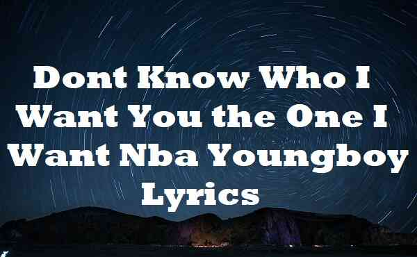 Dont Know Who I Want You the One I Want Nba Youngboy Lyrics
