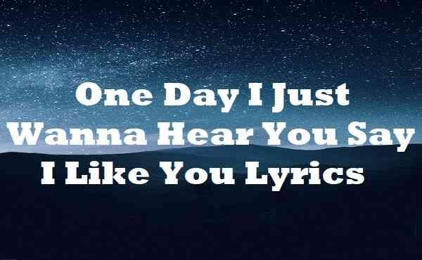 One Day I Just Wanna Hear You Say I Like You Lyrics