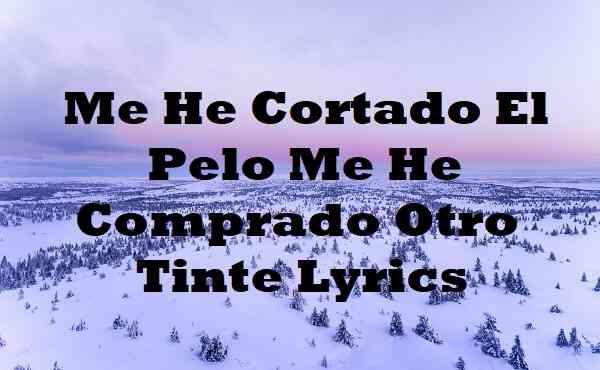 Me He Cortado El Pelo Me He Comprado Otro Tinte Lyrics