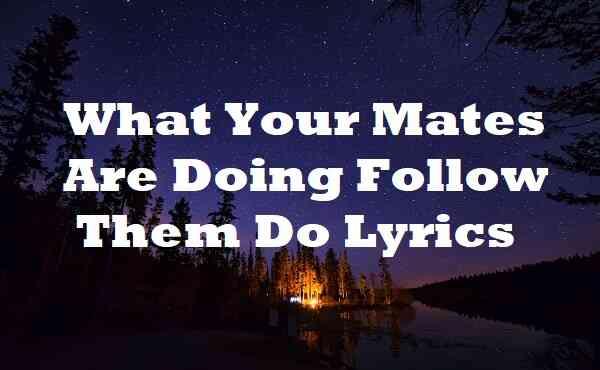 What Your Mates Are Doing Follow Them Do Lyrics