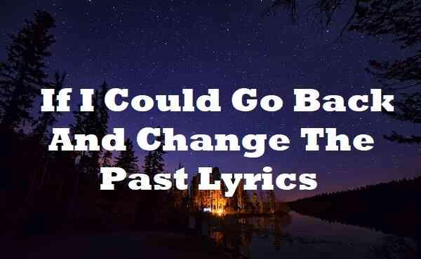 If I Could Go Back And Change The Past Lyrics