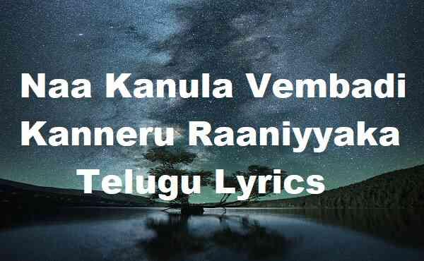 Naa Kanula Vembadi Kanneru Raaniyyaka Telugu Lyrics